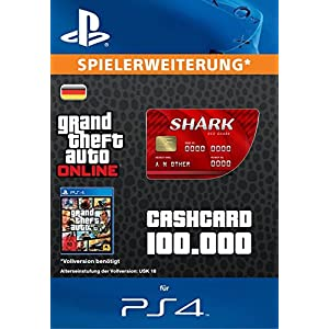 Grand Theft Auto Online | GTA V Red Shark Cash Card | 100,000 GTA-Dollars | PS4 Download Code – deutsches Konto