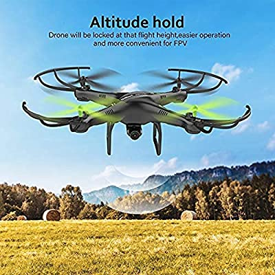 C.N. Potensic Drone with Camera, U42W Wifi 480P Camera Fpv 2.4Ghz Rc Quadcopter Drone Rtf Altitude Hold Ufo with Newest Hover and 3D Flips Function,A,One Size