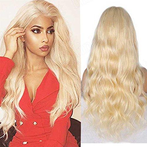 7A Brazilian Virgin Echthaar Front Lace Perücken Farbe # 613blond Perücke klebefreien lang mit Baby Haarspange für Damen weiß -