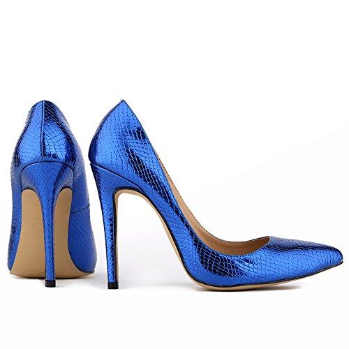 Aisun Damen Modisch Spitz Schuh Krokodil Muster Stiletto Low Top Pumps Blau
