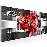Bilder Blumen Lilien Wandbild Vlies - Leinwand Bild XXL Format Wandbilder Wohnzimmer Wohnung Deko Kunstdrucke Rot 1 Teilig -100% MADE IN GERMANY - Fertig zum Aufhängen 008612c
