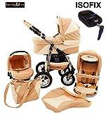 Ferriley & Fitz Daytona Leder Dekor Kinderwagen Safety-Set (Autositz & ISOFIX Basis, Regenschutz, Moskitonetz, Getränkehalter, Schwenkräder) 80 Beige Creme Leder