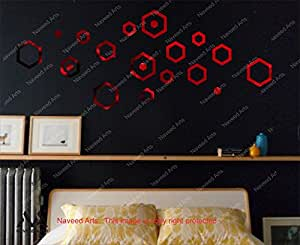 Naveed Arts - Small Size - 3D Acrylic Mirror Wall Décor stickers for home & Office - Wine Red Hexagon, 20 Ring- JB032S4WRM - Factory Outlet, Premium Quality
