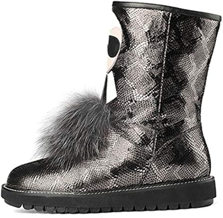 Stivali da Neve Invernali da Donna Sheep Flipping Low Heel Flat Low Round Head Stivaletti Medi Stivali in Pelle... | On Line  | Uomo/Donna Scarpa