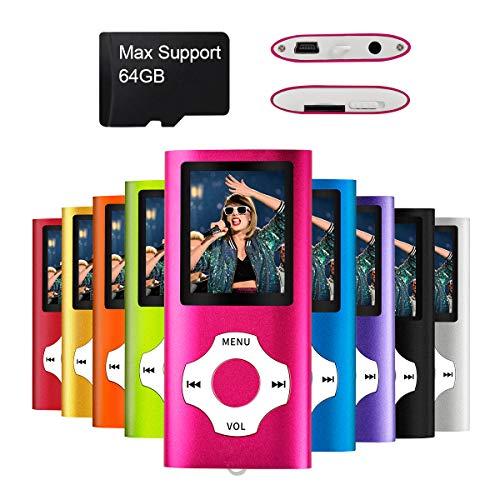 Mymahdi - Digital, Compact et Portable Lecteur MP3/MP4 (Max Support 64 GB) avec Photo Viewer, E-Book Reader et Radio FM Enregistreur Vocal et vidéo vidéo en Rose ...