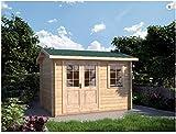 Mondocasette Casa Gartenhaus aus Holz – Modell Ula Wandstärke 28 mm 340 x 250 cm Abstellbox Chalet Bungalow