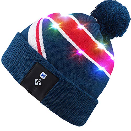 Qshell LED String Light Up Beanie Cappello a Maglia con Fili di Rame Luci Colorate 18 LED per Uomini Donne Indoor e Outdoor, Festival, FESTIVITÀ, Feste, Feste, Bar, Regali di Natale - Blu.