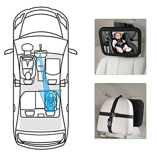 TOPELEK Rücksitzspiegel, Spiegel Auto Baby, Rückspiegel Baby Autospiegel Shatterproof Car Rückspiegel kompatibel mit meisten Auto drehbar doppelriemen, 360° schwenkbar für Baby Kinderbeobachtung. TOPELEK Rücksitzspiegel, Spiegel Auto Baby, Rückspiegel Baby Autospiegel Shatterproof Car Rückspiegel kompatibel mit meisten Auto drehbar doppelriemen, 360° schwenkbar für Baby Kinderbeobachtung.