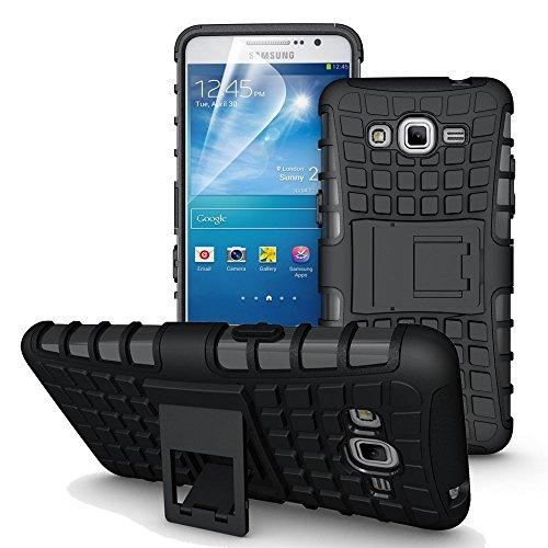 DiGi-Kick Stand Tough Hybrid Armour Shockproof Hard PC + TPU Back Case Cover for Samsung Galaxy J7 (2015)- Rugged Black