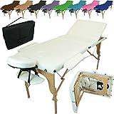 Linxor France  Table de massage pliante 3 zones en bois avec panneau Reiki + accessoires et housse de transport, Blanc