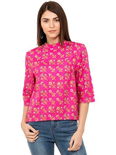 Chumbak Floral Printed Pink Turtle Neck Blouson Top - L