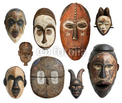 Máscaras Masques africains - africano (63745635), lona, 120 x 100 cm