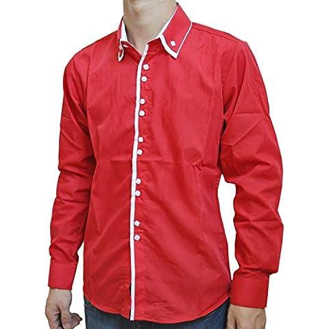 SODIAL (R) Nueva moda Casual con doble cuello tapeta contraste del color de la manga larga de la camisa de los hombres Boer rojo -