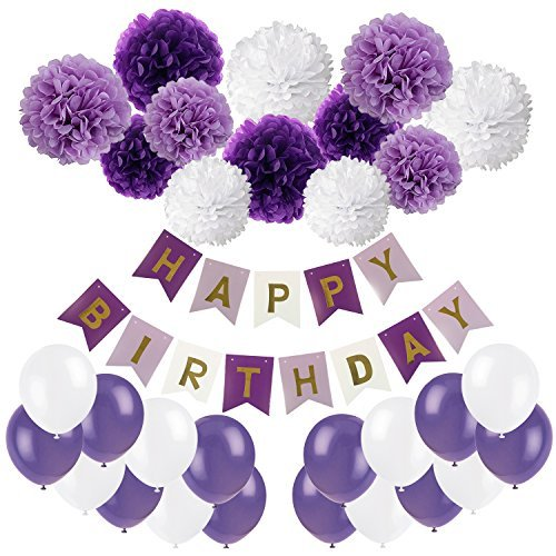 oration, Recosis Happy Birthday Wimpelkette Banner Girlande mit Seidenpapier Pompoms und Luftballons für Mädchen und Jungen Jeden Alters - Violett, Lavendel und Weiß ()