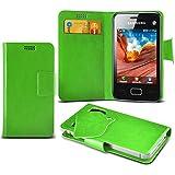 (Green) Samsung Rex 80 S5222R Super dünne Kunstleder Saugnapf Wallet Case Hülle mit Credit / Debit Card SlotsBy Spyrox