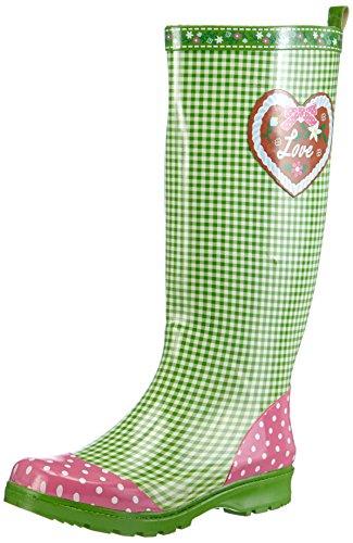 Playshoes Damen Gummistiefel, trendiger Regenstiefel aus Naturkautschuk, mit herausnehmbarer Innensohle, mit Landhaus-Motiv ,Grün (grün 29) ,38