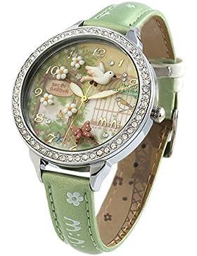 Handgefertigt 3D Polymer Clay Kristalle Damen Handgelenk Uhren für Frauen Mädchen Spring Fliegender Vogel grün...