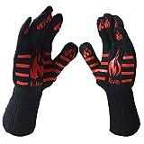 Set de 2 guantes I-live resistentes a temperaturas extremas de 500ºC, certificado EN407, protección con cinco dedos para cocina/exteriores, uso como manopla para horno, ollas, barbacoas, para asar, cocinar, algodón, negro, talla única