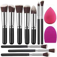 Umi. Makeup Brush Set Premium Synthetic Kabuki Foundation Face Powder Blush Eyeshadow Brushes Makeup Brush Kit with Blender Sponge and Brush Egg (10+2pcs, Black/Silver)