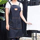 ZPSPZ-Schürze Denim Schürze Café Lehrer Milch Tee Geschäft Küche Männer Bild Arbeitskleidung,Schwarz