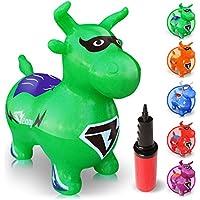 WALIKI TOYS Cheval Sauteur Benny (Animal Sauteur Gonflable, Ballon Sauteur, cheval rebondissant pour enfants, vert, pompe incluse)