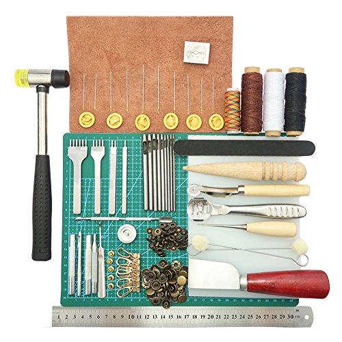 44 Stück DIY Handwerk des Leder-Tools Leathercraft Couture Punch Werkzeug Kit Für Nähte Schneidebrett Home handgefertigte Zubehör