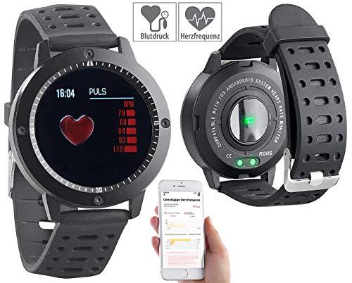 Newgen Medicals Fitnessuhren: Fitness-Uhr, Touch-Farbdisplay, Blutdruck- & Herzfrequenzanzeige, IP67 (Fitness Armbanduhr)