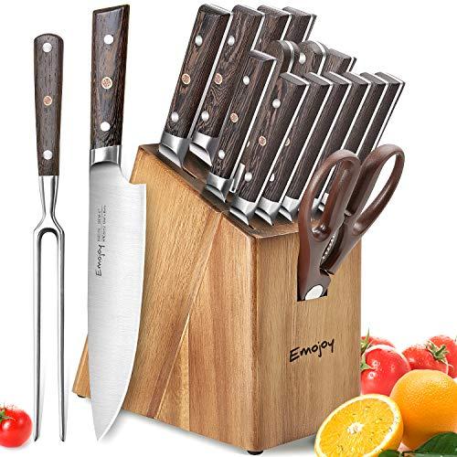 Emojoy Messerset, Messerblock aus Holz,16-TLG Messerset mit Block, Küchenmesserset mit Fleischgabel, hochwertiger Holzgriff Kochmesserset, aus Deutscher Edelstahl