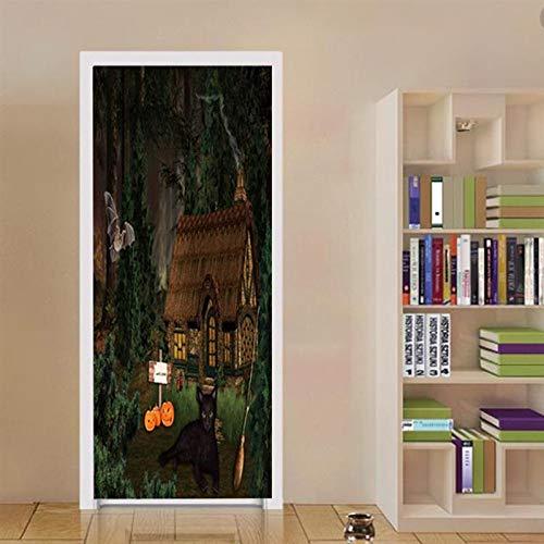 WXZXGL Türaufkleber Jungle Lodge Abnehmbare Selbstklebende Tür Aufkleber Tür Wandbild Für Allerheiligen Dekoration Party Supplies Home 77 X 200 cm - Lodge-tür