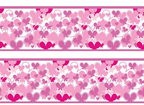 wandmotiv24 Bordüre Schmetterlinge Pink 260cm Breite - Papier Borte Tapetenbordüre Bordüren Borde Wandborde Muster rosa Mädchen M0028