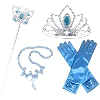 GenialES Princesa Dress Up Accesorios para Niñas Diadema Varita Mágica Collar Guantes Blanco para Cumpleaños Party Carnaval Fiesta Cosplay Halloween