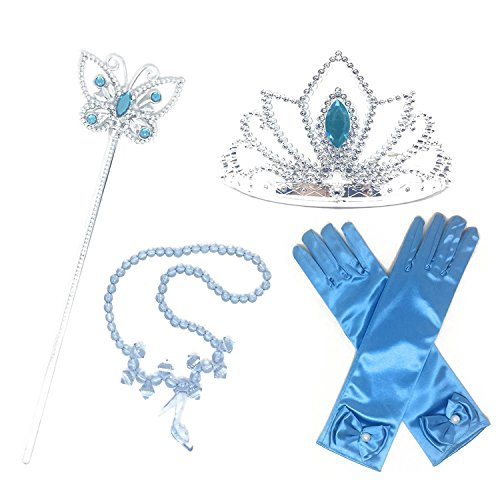 GenialES 4PCS Principessa Dress Up Accessori per Ragazze Diadema Varita Magia Collana Guanti Blu per Festa di Compleanno Cosplay Carnival Halloween Party