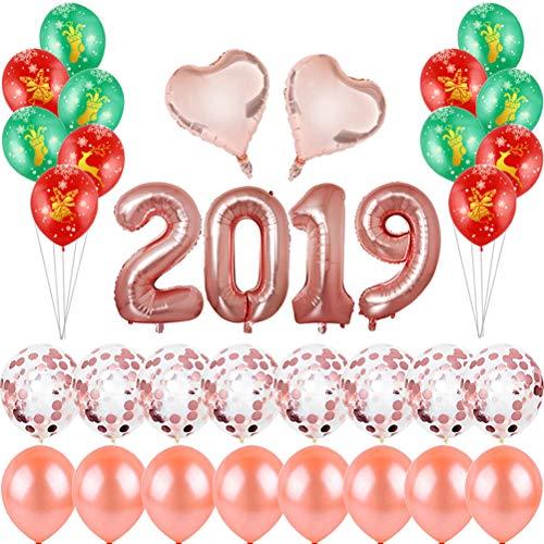 BESTOYARD 2019 New Year Party Theme Latex und Folienballons Gold Herzform Ballon und roter grüner Latexballon für Weihnachten Neujahr sogar Party Supplies (New Theme Years)