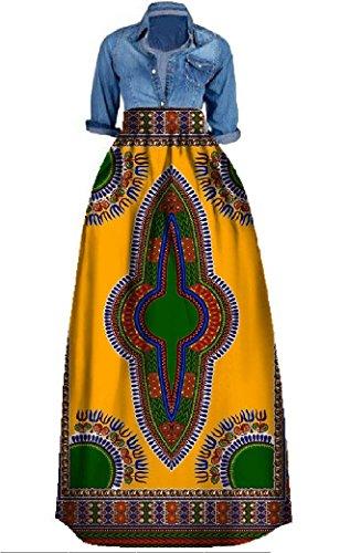 Outgobuy Damen Traditionelles afrikanisches Dashiki Kleid Langes Maxi EIN Linie Rock Ballkleid (XXXL, Gelb + Grün)