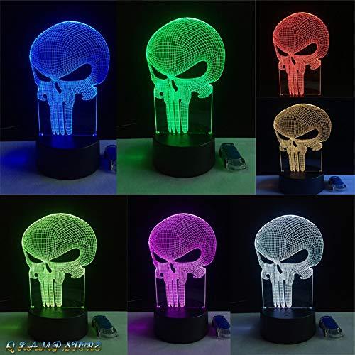Sunfrow Illusion Zahn Schädel 3D Led USB Lampe Stimmung 7 Farbe Angst Themed Spukhaus Dekor Nachtlicht Bühnenbeleuchtung