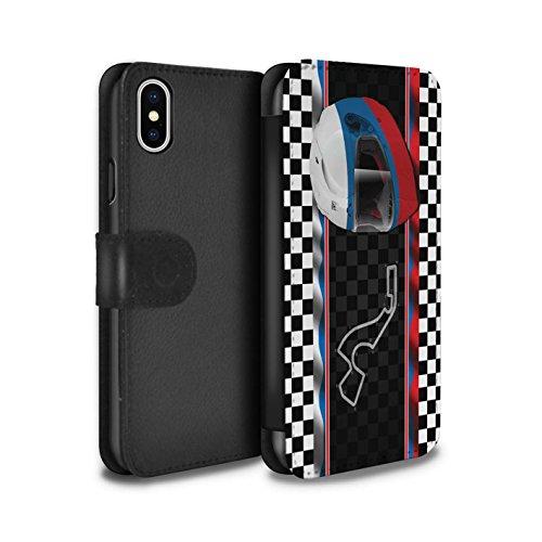 Stuff4 Coque/Etui/Housse Cuir PU Case/Cover pour Apple iPhone X/10 / Brésil/SãoPaulo Design / F1 Piste Drapeau Collection Russie/Sochi