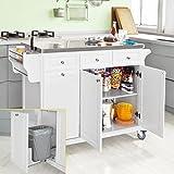 SoBuy FKW33-W Neu Luxus-Küchenwagen mit Edelstahlplatte, Küchenschrank, Kücheninsel,Servierwagen, Rollwagen, mit Ablage für Mülleimer, Abfalleimer