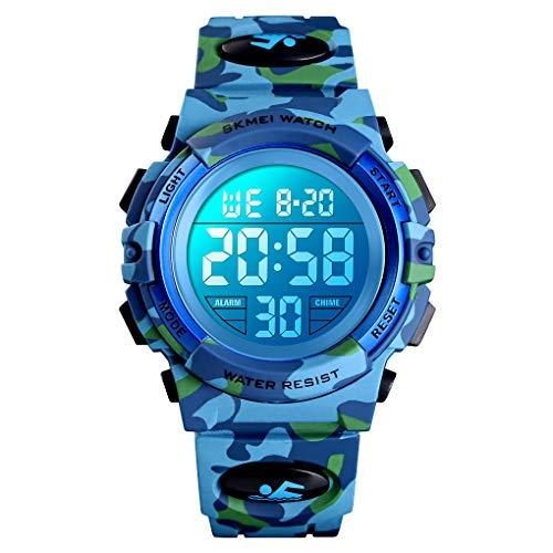 ETOWS® - Reloj de Pulsera para niños con Luces Intermitentes, 50 m, Resistente al Agua, cronógrafo...