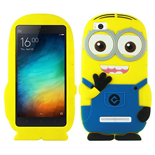 Heartly Cute Cartoon Minion Soft Rubber Silicone Flip Bumper Best Back Case Cover For Xiaomi Miui Mi 4i Dual Sim Double Eye