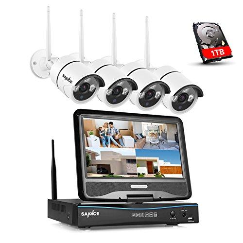 SANNCE Überwachungskamera Set mit Monitor 1080P NVR WLAN Überwachungskamerasystem und 4 * 1080P WLAN Kamera 1TB Festplatte für Innen Außen