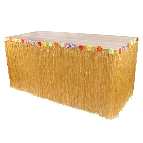 Play Tailor jupe de table hawaïenne Luau Hibiscus Nappe fleur d'herbe pour la décoration de fête (276CM*75CM)