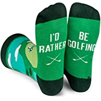 I'd Rather Be Socks (Fishing, Fly Fishing, Hunting, Racing, Football, Golf) - Men's Crew Length Crazy Colorful Dress Socks (Golf)