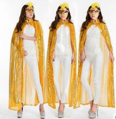 Beauty - bekleidung abend umhang Champions Awards umhang - Bühne - farb - pailletten - umhang göttin kostümen(Gelbe Pailletten (Todes Göttin Des Kostüm)