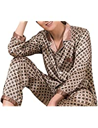 01d2796540 GRMO Men Ice Silk Printed 2 Pcs Outfits Comfy Long Sleeve Pajamas Set