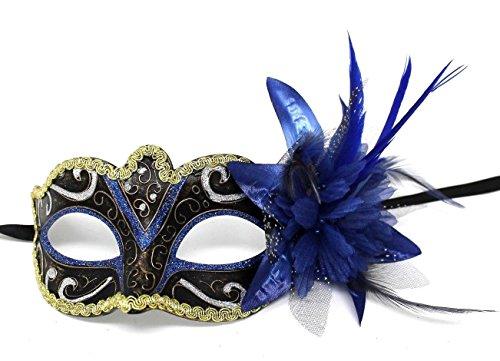 Das Gute Leben Damen Blau und Gold mit Blumen Venetianische Maskerade Partei Karneval ()