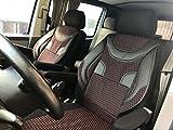 seatcovers by k-maniac Sitzbezüge Fahrersitz Beifahrersitz Armlehnen Design T46 schwarz-rot