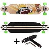 FunTomia® Longboard Skateboard Drop Through Cruiser Komplettboard mit Mach1® ABEC-11 High Speed Kugellager T-Tool mit und ohne LED Rollen