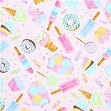 Stoff in Hellrosa mit bunten Süßigkeiten von Timeless