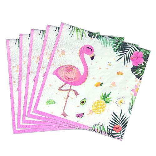 WERNNSAI Flamingo Partyzubehör - 50 STÜCK Wegwerf Party Mittagessen Servietten Hawaiian Luau Tropische Thema Party Rosa Papier Servietten für Baby Shower Geburtstag Hochzeit Schwimmbad Tee Party (Baby Geburtstag Party Thema)