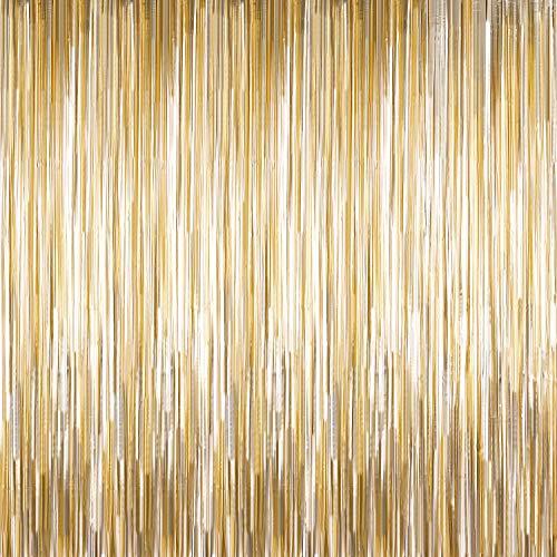 4 Packung Photo Booth Backdrops Folie Vorhänge Metallic Lametta Kulisse Vorhänge Tür Fringe Vorhänge für Hochzeit Geburtstag Weihnachten Halloween Disco Party Favor Dekorationen (Mattes Licht Gold)